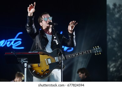HRADEC KRALOVE - JULY 6: Singer Mark Foster of Foster The People during performance at festival Rock for People in Hradec Kralove, Czech republic, July 6, 2017.