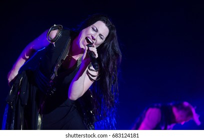 HRADEC KRALOVE - JULY 6: Singer Amy Lee of Evanescence during performance at festival Rock for People in Hradec Kralove, Czech republic, July 6, 2017.