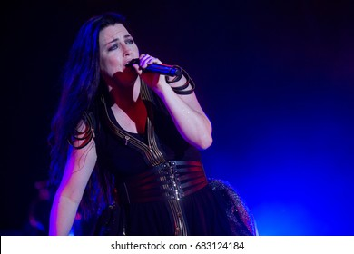 HRADEC KRALOVE - JULY 6: Singer Amy Lee of Evanescence during performance at festival Rock for People in Hradec Kralove, Czech republic, July 6, 2017.