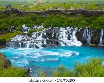 Hraunfossar falls in summer time, Iceland