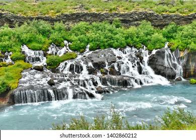 Hraunfossar lava waterfalls in Western Iceland
