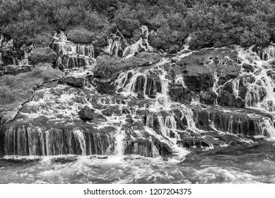 Hraunfossar series of waterfalls formed by rivulets streaming over a distance of about 900 metres. Iceland travel destination. Black and white.