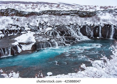 Hraunfossar together with series of waterfalls