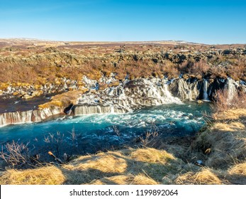 Hraunfossar waterall, Lava fall, one of unusual beautiful water cliff in Iceland