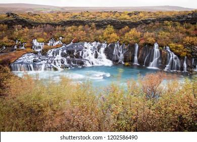 Hraunfossar waterfall in autumn in Iceland