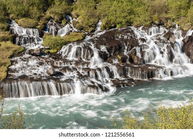 Hraunfossar Waterfall in Iceland - Long Exposure