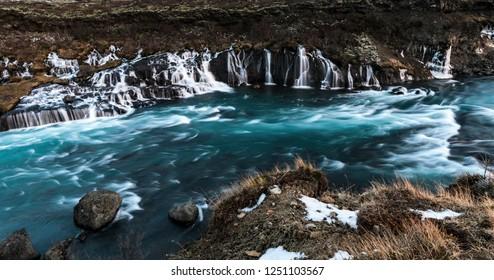 Hraunfossar waterfall on Iceland