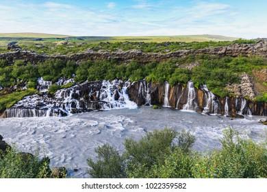 Hraunfossar waterfall in western central iceland in summer