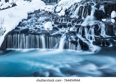 Hraunfossar waterfall in winter. One of the most popular waterfall in Iceland, Europe.
