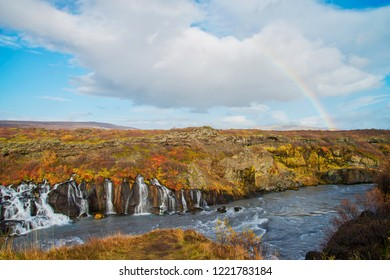Hraunfossar Waterfalls attractions in Iceland