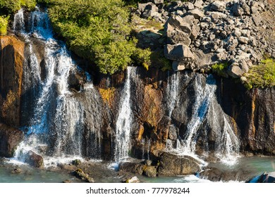 Hraunfossar waterfalls (Borgarfjordur, Iceland),
