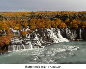 Hraunfossar Waterfalls in Reykholt Valley in West Iceland