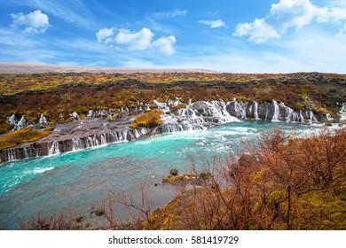 Hraunfossar waterfalls,Iceland