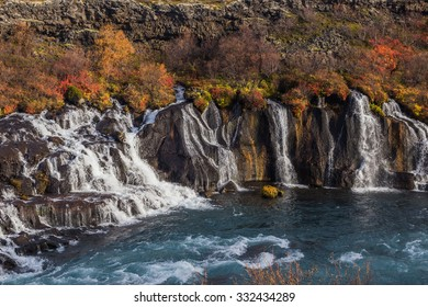 Hraunfossar waterfalss, autumn Iceland. Beautiful nature. Husafell