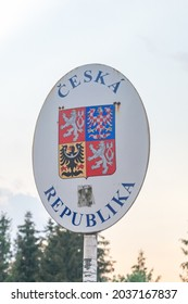 Hrcava, Czech Republic - June 6, 2021: Coat of arms of the Czech Republic (Czech: Statni znak Ceske republiky) on the border with Poland.