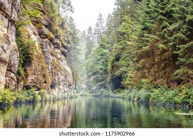 """Hrensko, Czech Republic - April 3, 2018: """"Edmund Gorge"""", formerly known as """"Quiet"""" or """"Lower Gorge"""", is a rocky canyon of the Kamenice River"""