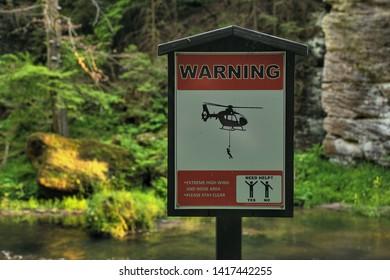 Hrensko, Czech republic - June 03, 2019: Warning table in National park Czech Switzerland
