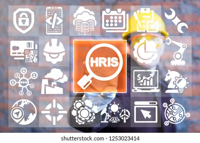 HRIS industrial human resources information system. Human resources modern manufacturing concept.