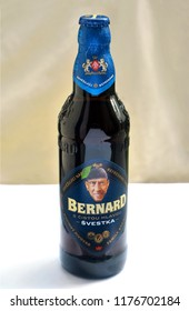 HRONOV, CZECH REPUBLIC - June 17, 2018: Original bottle of Bernard Plum Beer - Free Head - popular non-alcoholic beer, with portrait of the family brewary founder S. Bernard on the label