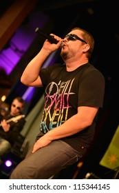 HRONSKY BENADIK, SLOVAKIA OCTOBER 12: Slovakian popstar Desmod performing at the Spoznaj a lub 2012 on October 12, 2012 in Hronsky Benadik, Slovakia