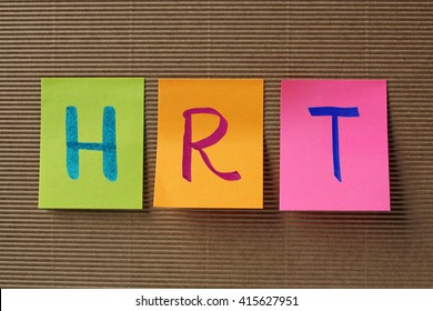 HRT (Hormone replacement therapy) acronym on colorful sticky notes