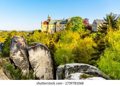 Hruba skala castle built on the top of sandstone rocks. Bohemian Paradise, Czech: Cesky raj, Czech Republic. - Shutterstock ID 1739781068