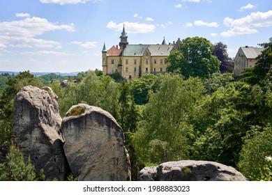HRUBA SKALA, CZECH REPUBLIC - JUNE 6, 2021: View of the Hruba Skala castle in the protected landscape area called Cesky Raj or Bohemian Paradise