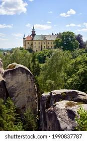 HRUBA SKALA, CZECH REPUBLIC - JUNE 6, 2021: View of the Hruba Skala castle in the protected landscape area of Cesky Raj or Bohemian Paradise