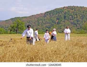 """HRUSOV, SLOVAKIA - AUGUST 18: Folk festival """"Hontianska parada""""-Villagers  performs agricultural labor on August 18, 2007. In the village Hrusov held one of the largest folk festivals in the Slovakia"""