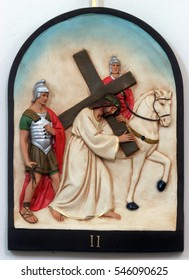 HRVATSKA DUBICA, CROATIA - NOVEMBER 18: 2nd Stations of the Cross, Jesus is given his cross, Parish Church of Holy Trinity in Hrvatska Dubica, Croatia on November 18, 2010.