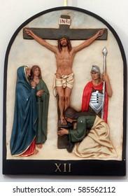 HRVATSKA DUBICA, CROATIA - NOVEMBER 18: 12th Stations of the Cross, Jesus dies on the cross, Parish Church of Holy Trinity in Hrvatska Dubica, Croatia on November 18, 2010.
