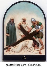 HRVATSKA DUBICA, CROATIA - NOVEMBER 18: 9th Stations of the Cross, Jesus falls the third time, Parish Church of Holy Trinity in Hrvatska Dubica, Croatia on November 18, 2010.
