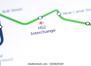 HS2 Interchange Station. Birmingham Metro map.