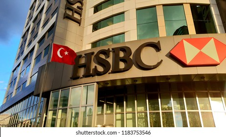 HSBC Bank Central Building With Turkish Flag, it was located in Maslak Istanbul Turkey - 18 Sept. 2018 Istanbul Turkey
