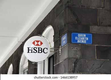 HSBC Bank logo on Queen Elizabeth Avanue, Point Louis, Mauritius, Indian Ocean, July 29th, 2019