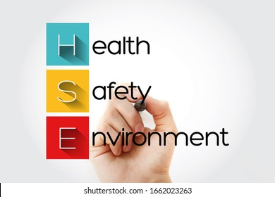 HSE - Health Safety Environment acronym with marker, concept background