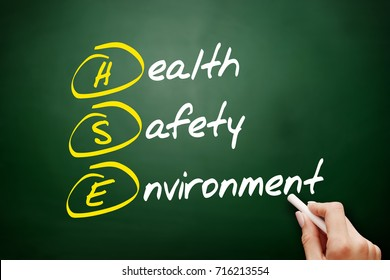 HSE - Health Safety Environment, acronym concept on blackboard