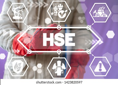 HSE Health Safety Environment Industry concept. Safe Industrial Work and Workplace on virtual banner.