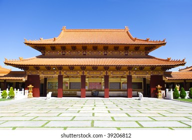 Hsi lai Temple in California  front view in the summer