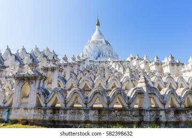 Hsinbyume Myatheindan Pagoda (White Temple) in Mingun, near Mandalay in Myanmar (Burma)