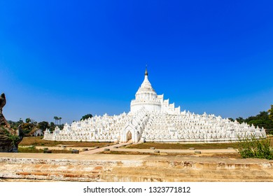 The Hsinbyume Paya Pagoda on the western bank of the Irrawaddy River, Mingun, Sagaing Region, Myanmar. The pagoda was built in 1816 by Bagyidaw. It is dedicated to the memory of his first consort.