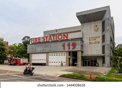 "Hsinchu City, Taiwan - June 22 2019: Hsinchu Fire Station, featuring ""119"", the Taiwan Emergency emergency telephone number for firefighters and ambulance services"