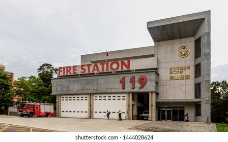 """Hsinchu City, Taiwan - June 22 2019: Hsinchu Fire Station, featuring """"119"""", the Taiwan Emergency emergency telephone number for firefighters and ambulance services"""