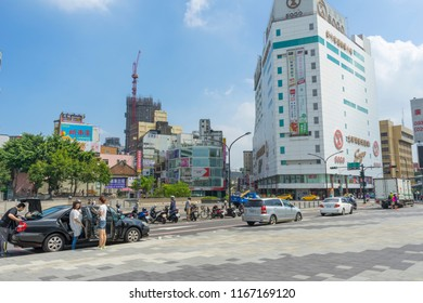 HSINCHU, TAIWAN - AUG 7 ,2018. One of a junctions on a busy Zhonghua Road with Sogo Department store in the background in Hsinchu, Taiwan on August 7,2018.