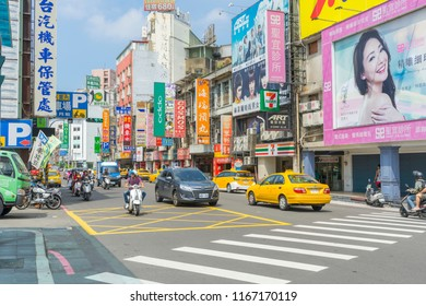 HSINCHU, TAIWAN - AUG 7 ,2018. One of a junctions on a busy Zhonghua Road in Hsinchu, Taiwan on August 7,2018.