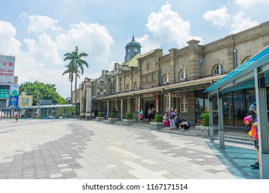 HSINCHU, TAIWAN - AUG 7 ,2018 : Day view of Hsinchu Train Station in Hsinchu, Taiwan on August 7,2018.