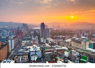 Hsinchu, Taiwan downtown city skyline from above at dawn.