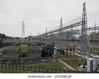 Hsinchu, Taiwan - Feb 8 2019: A substation at Hsinchu City on a cloudy afternoon