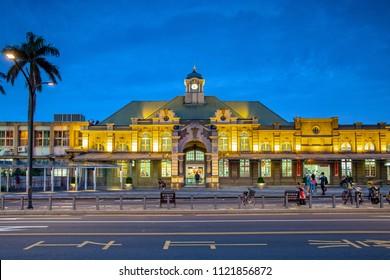 Hsinchu, Taiwan - June 02, 2018: Night view of hsinchu railway stationn in Taiwan.
