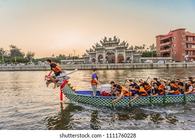 Hsinchu, Taiwan- June 11, 2018 : Dragon Boat Training After Sunset for Dragon Boat Festival Contest at Chihho Temple, Xinfeng (Hsinfeng) County